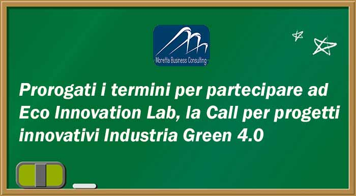 Eco Innovation Lab prorogati i termini